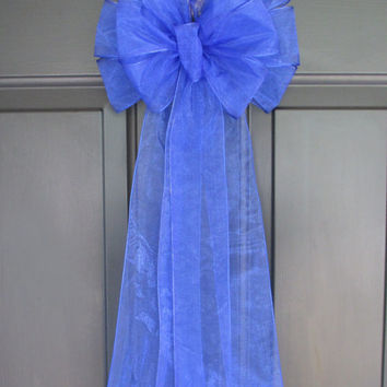 Royal Blue Sheer Pew Bow, Bridal Wedding Decorations, Chair Aisle Church Ceremony Reception Display, Floral, Multipurpose