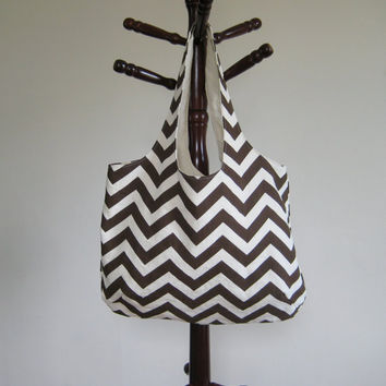 Chevron Print Tote Book Bag Beach Bag in by moxiebscloset on Etsy