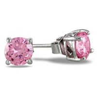 Sterling Silver 1 1/2 CT Pink CZ Solitaire Earrings