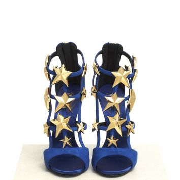 Giuseppe Zanotti Design - 'Alien' star embellished high heel sandals  | Blue and Green Sandal High Heels | Womenswear | Lane Crawford