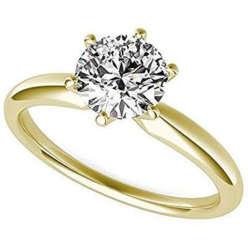 A Perfect 14K Yellow Gold 3CT Round Cut Solitaire Russian Lab Diamond Ring