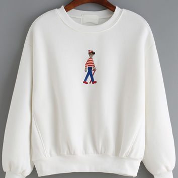 Cartoon Embroidered Loose White Sweatshirt