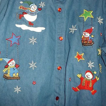 Vintage Women's Holiday Xmas Christmas Snowman Denim Shirt 26W/28W  Bobbie Brooks