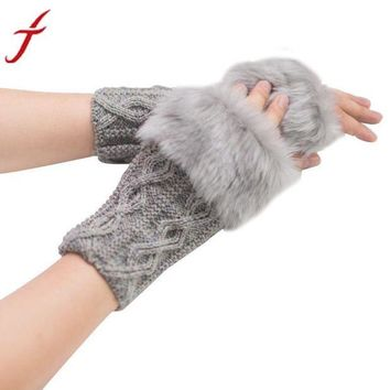 VOND4H Feitong Winter Gloves Women Girl Warm Winter Faux Rabbit Fur Knitted Wrist Fingerless Gloves Mittens Cold-weather street wear