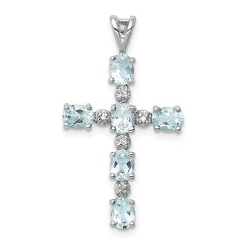 925 Sterling Silver Rhodium Plated Diamond and Aquamarine Cross Shaped Pendant