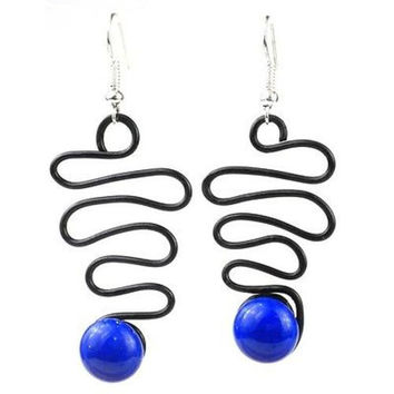 "Enameled Wire and Blue Glass Bead ""Lombard"" Earrings - Chilean"