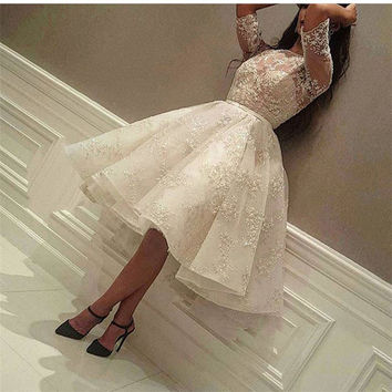 New Arrival White Appliques Lace Beaded Short Homecoming Dresses Fashion Half Sleeve Knee Length Graduation Gowns For Prom Dress