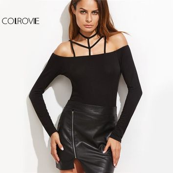 Caged Slim Fit T-shirt Black Strappy Sexy Women Cold Shoulder Autumn Tops Fashion Long Sleeve Cut Out Club T-shirt
