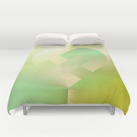 Danish Heart Mint Gold Duvet Cover by Gréta Thórsdóttir  #love #heart #holiday #Christmas #mint #gold #ombre #pattern