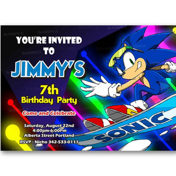 Sonic the Hedgehog Glow Colorful Games Kids Birthday Invitation Party Design