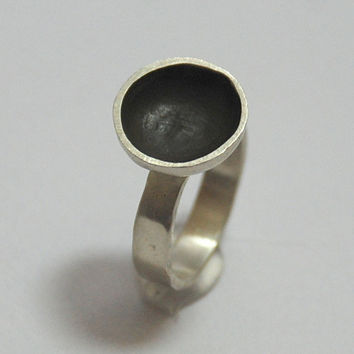 Oxsidized  Round Sterling Silver Ring
