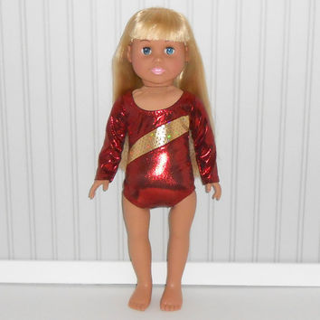 American Girl Doll Clothes Maroon and Gold Leotard Gymnastics Performance Leotard fits 18 inch Doll