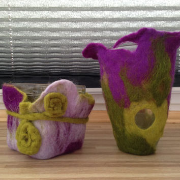 Felt vases/ Felted/ Art Home Decor Vases/ green and violet felted vases