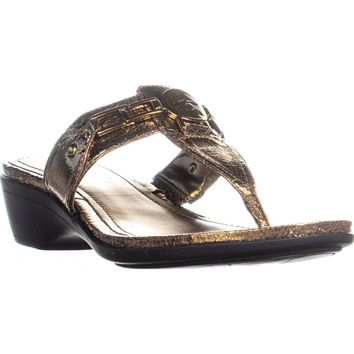 Marc Fisher Amina3 Thong Wedge Flip Flops, Bronze, 7.5 US