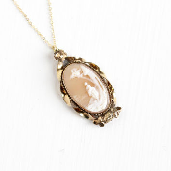 Antique Rebecca At The Well Carved Shell Cameo Pendant Necklace - Vintage 1900s Victorian Edwardian Acorn Flower Biblical Scenic Jewelry