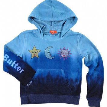 Butter Kids Triple Dye Star Moon Sun Pullover - 3 Blues