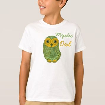 Green Mystic Owl Kids Basic Hanes T-Shirts