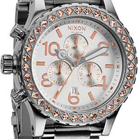 Nixon 42-20 Silver & Champagne Crystal Chronograph Watch