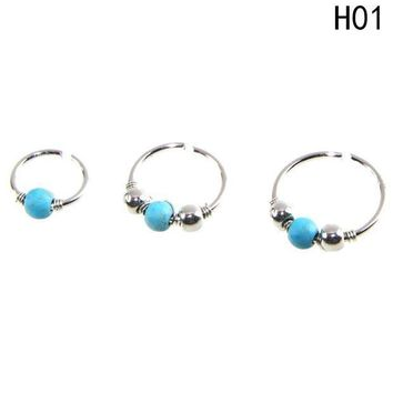 ac ICIKO2Q Green Stone Hoop Helix Piercing Ear Cartilage Surgical Septum Clickers Nose Ring 3pcs/set Tragus Daith Migraine Piercing
