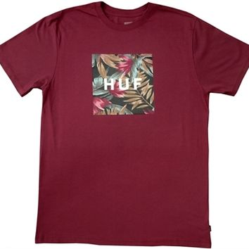 justanother.co.uk. HUF Clothing: HUF Box Logo Fill Waikiki t-shirt tee shirt in burgundy