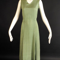 1930s Green Silk Print Dress, Bust-32
