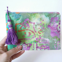 Purple & Green Batik Lined Zipper Pouch Handbag Clutch With Tassel 100% Cotton