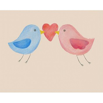 Contemporary Cute Love Birds with Hearts Sew So Simple ™ Counted Cross Stitch or Counted Needlepoint Pattern