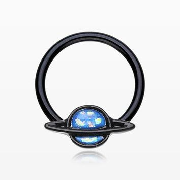 Blackline Opalescent Galaxy Planet Captive Bead Ring