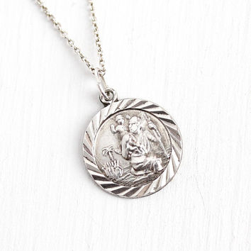 Vintage Religious Charm - Sterling Silver Saint Christopher Round Pendant - 1960's Retro Symbolic Saint Catholic Necklace Repousse Jewelry