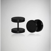 18 Gauge Large Black Round Fake Plug Set - Spencer's