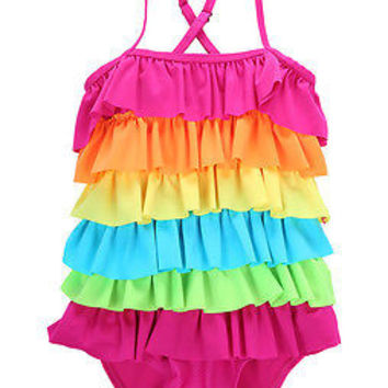 hot Kids Girls Rainbow Bikini Girls Summer Beach Swimwear Layered Swimming Bathing Suit Children Girls Swimsuit