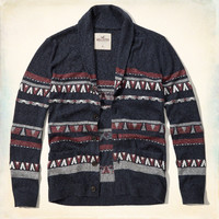 Jacquard Shawl Collar Cardigan