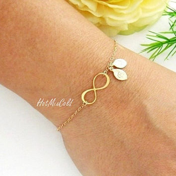 Personalized Infinity Bracelet, TWO Monogram Bracelet, Infinity Symbol bracelet, Couple Initial GOLD Jewelry, Mother day's bracelet