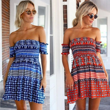 Feelingirl Slash Neck  Fashion Pattern Dot Print Short Summer Dress Sexy Off Shoulder Backless Mini Casual Beach Dress = 1696886660