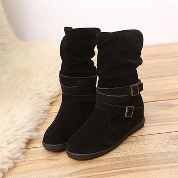 Low Wedge Buckle Biker Ankle Trim Flat Ankle Boots Shoes