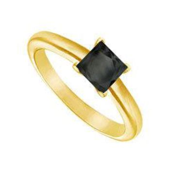 Black Diamond Princess Cut Solitaire Ring : 14K Yellow Gold 0.50 CT Diamond