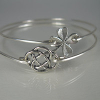 Silver Celtic Knot and Four Leaf Clover bangle set, Silver, ,Clover, Celtic Knot, Silver Jewelry, Bangle Bracelet, Bangle Bracelet, IRISH