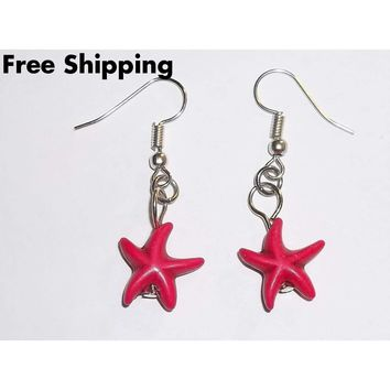 Hot Pink Starfish Artisan Crafted Silver Dangle Earrings