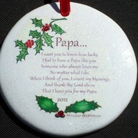 For Papa with Love Christmas Ornament with Rhinestone Crystal Detail 2012