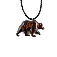 Grizzly Bear Necklace, Bear Necklace, Bear Pendant, Mens Necklace, Wood Bear Necklace, Bear Jewelry, Tribal Jewelry, Grizzly Bear Jewelry