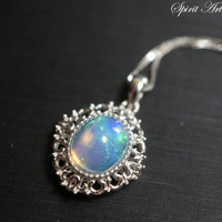 Opal Necklace, Genuine Ethiopian Opal Pendant, Full Sterling Silver Opal Jewelry