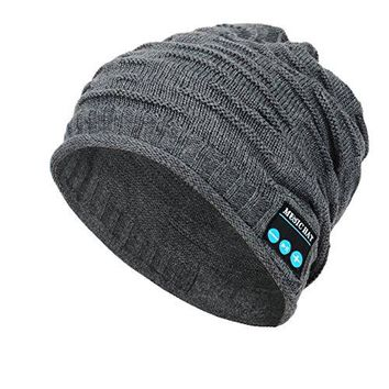 Wireless Bluetooth Beanie Hat ,Unisex Outdoor Sport Knit Hat with Rechargeable Detachable Stereo Speakers & Microphone,Unique Christmas Tech Gifts for Teen Young Boys Girls Men Women( Mz012-grey)