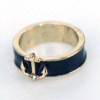 Shipwreck Treasure Anchor Lacquered Ring in Navy Blue | Sincerely Sweet Boutique