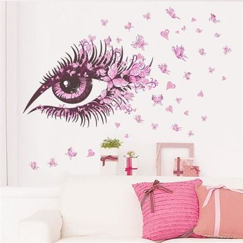 charming Women Eye butterfly LOVE heart home decal wall sticker girls bedroom decoration living room Bedroom mural Poster