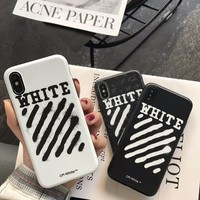 Luxury High Quality hot fashion kanye west off White hip hop phone case cover for iphone 6 6s 7 7 Plus men case