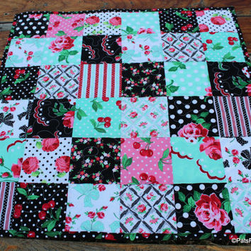 Quilted Table Runner or Topper Black Teal Pink Retro Cherries