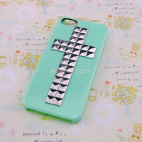 Studded iPhone 5 Case Mint Color Antique Silver Cross by Craftgo