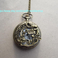 Alice in Wonderland Pocket Watch Necklace mens jewelry -girl cat graden