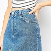 ASOS | ASOS Denim Original High Waisted Mini Skirt in Mid Wash Blue at ASOS
