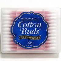 Cotton Buds Premium Cotton Swabs, Travel Size, 36-Count, Colors may vary